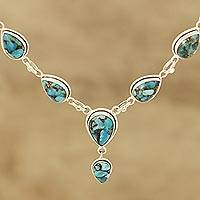Composite turquoise Y-necklace, 'Aura of Beauty' - Composite Turquoise Y-Necklace from India