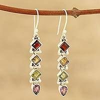 Multi-gemstone dangle earrings, 'Gemstone Fusion' - Faceted Multi-Gemstone Dangle Earrings from India