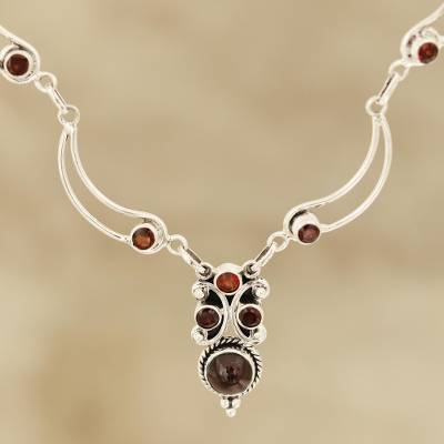 Garnet pendant necklace, 'Radiant Princess' - Natural Garnet Link Pendant Necklace from India