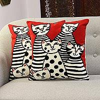 Embroidered cotton cushion covers, 'Cat Family' (pair) - Cat-Themed Embroidered Cotton Cushion Covers (Pair)