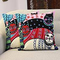 Embroidered cotton cushion covers, 'Regal Cats' (pair) - Cat-Themed Embroidered Cotton Cushion Covers (Pair)