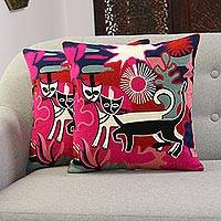 Embroidered cotton cushion covers, 'Cats at Sunset' (pair) - Cat Embroidered Cotton Cushion Covers from India (Pair)