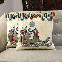 Embroidered cotton cushion covers, 'Playful Kitten' (pair) - Cotton Cushion Covers Embroidered with a Cat (Pair)