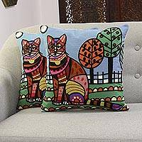 Embroidered cotton cushion covers, 'Colorful Cat' (pair) - Embroidered Cushion Covers Depicting a Cat from India (Pair)