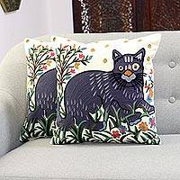 Embroidered cotton cushion covers, 'Funny Cat' (pair) - Cat-Themed Embroidered Cotton Cushion Covers (Pair)