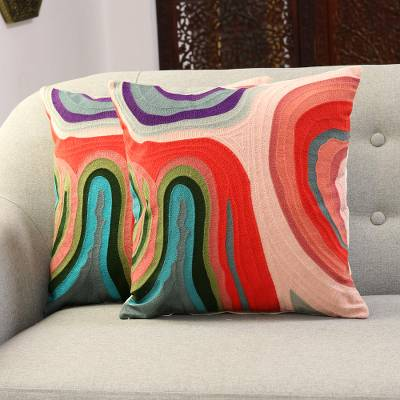 Embroidered cotton cushion covers, 'Abstract Morning' (pair) - Abstract Embroidered Cotton Cushion Covers from India (Pair)