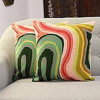 Embroidered cotton cushion covers, 'Abstract Evening' (pair) - Colorful Abstract Embroidered Cotton Cushion Covers (Pair)
