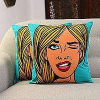 Embroidered cotton cushion covers, 'Wink' (pair) - Embroidered Cotton Cushion Covers of a Woman Winking (Pair)