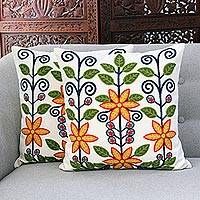 Cotton cushion covers, 'Climbing Flowers' (pair) - Floral Embroidered Cotton Cushion Covers from India (Pair)