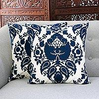 Cotton cushion covers, 'Midnight Glory' (pair) - Midnight and Alabaster Cotton Cushion Covers (Pair)
