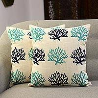 Embroidered cotton cushion covers, 'Blue Coral' (pair) - Coral-Themed Embroidered Cotton Cushion Covers (Pair)