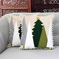 Cotton cushion covers, 'Pine Forest' (pair) - Tree-Themed Cotton Cushion Covers from India (Pair)