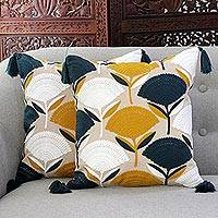 Cotton cushion covers, 'Chic Bouquet' (pair) - Floral Cotton Cushion Covers with Tassels from India (Pair)