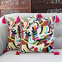 Cotton cushion covers, 'Enchanted Forest' (pair) - Animal-Themed Cotton Cushion Covers from India (Pair)