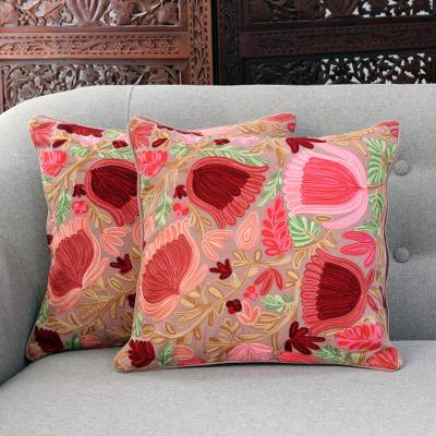 Cotton cushion covers, 'Floral Trance' (pair) - Pink Floral Cotton Cushion Covers from India (Pair)