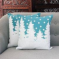 Cotton cushion covers, 'Turquoise Winter' (pair) - Winter-Themed Embroidered Cotton Cushion Covers (Pair)