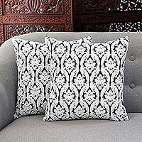 Cotton cushion covers, 'Midnight Trellis' (pair) - Embroidered Cotton Cushion Covers from India (Pair)