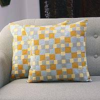 Embroidered cotton cushion covers, 'Square Illusion' (pair) - Square Embroidered Cotton Cushion Covers from India (Pair)