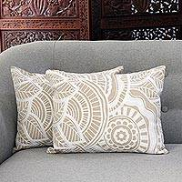 Cotton cushion covers, 'Mandala Bliss' (pair) - Mandala Pattern Embroidered Cotton Cushion Covers (Pair)