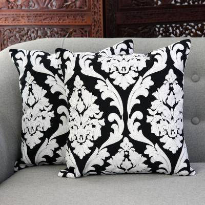 Cotton cushion covers, 'Glorious Midnight' (pair) - Vine Pattern Embroidered Cotton Cushion Covers (Pair)