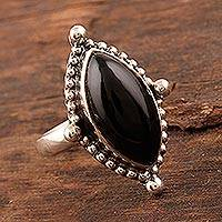 Onyx cocktail ring, 'Dark Beauty' - Black Onyx Cabochon Cocktail Ring