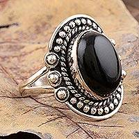 Onyx cocktail ring, 'Intrinsic' - Black Onyx Cocktail Ring from India