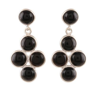 Black Onyx Dangle Earrings Crafted in India