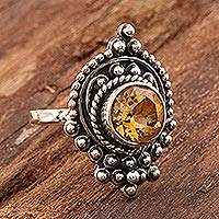 Citrine cocktail ring, 'Palatial' - Citrine Cocktail Ring in Sterling Silver Setting