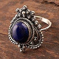 Lapis lazuli cocktail ring, 'Royal Magnificence' - Lapis Lazuli and Sterling Silver Cocktail Ring