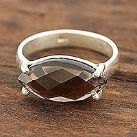 Smoky quartz single-stone ring, 'Sparkling Marquise' - 4-Carat Smoky Quartz Single-Stone Ring from India