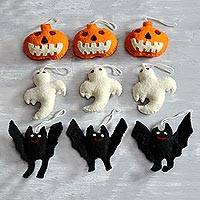 Wool felt ornaments, 'Halloween Charm' (set of 9) - Wool Felt Halloween Ornaments from India (Set of 9)