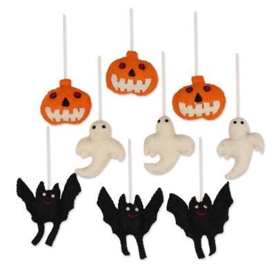 Wool felt ornaments, 'Halloween Charm' (set of 9) - Wool Felt Halloween Ornaments from India (Set of 9)