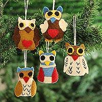 Wool felt ornaments, 'Happy Owls' (set of 5) - Colorful Wool Felt Owl Ornaments from India (Set of 5)