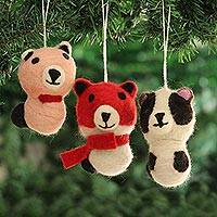 Wool felt ornaments, 'Panda Charm' (set of 3) - Wool Felt Panda Ornaments from India (Set of 3)