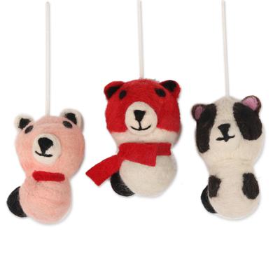 Wool felt ornaments, 'Panda Charm' (set of 3) - Wool Felt Panda Ornaments from India (Set of 3)