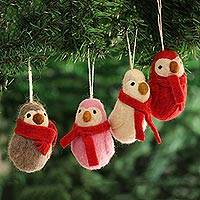 Wool felt ornaments, 'Penguin Greetings' (set of 4) - Wool Felt Penguin Ornaments from India (Set of 4)