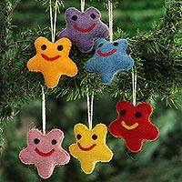 Wool felt ornaments, 'Cheery Stars' (set of 6) - Assorted Wool Felt Star Ornaments from India (Set of 6)