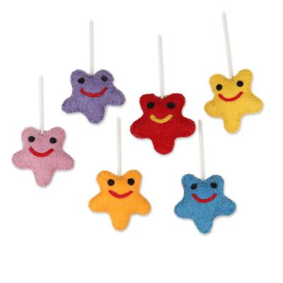 Wool felt ornaments, 'Cheery Stars' (set of 6) - Assorted Wool Felt Star Ornaments from India (Set of 6)