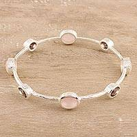 Rose quartz and smoky quartz bangle bracelet, 'Shimmering Fusion' - Rose Quartz and Smoky Quartz Bangle Bracelet from India