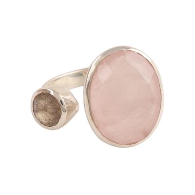 Rose quartz and labradorite wrap ring, 'Stylish Allure' - Rose Quartz and Labradorite Wrap Ring from India