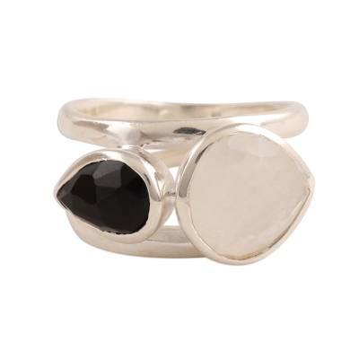 Rainbow Moonstone and Onyx Teardrop Cocktail Ring from India