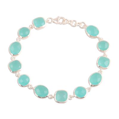 Chalcedony link bracelet, 'Dazzling Princess' - 31.5-Carat Blue Chalcedony Link Bracelet from India