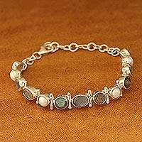 Labradorite and cultured pearl link bracelet, 'Pure Charm' - Labradorite and Cultured Pearl Link Bracelet from India