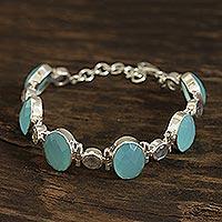 Chalcedony and labradorite link bracelet, 'Fabulous Alliance' - 26-Carat Chalcedony and Labradorite Link Bracelet from India