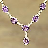 Amethyst pendant necklace, 'Regal Dazzle' - 24-Carat Amethyst Pendant Necklace from India