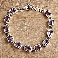 Amethyst link bracelet, 'Regal Rectangles' - Rectangular Amethyst Link Bracelet from India