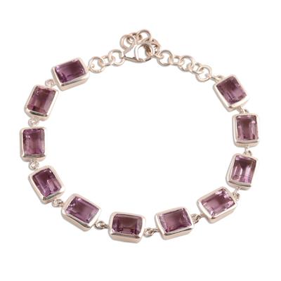 Amethyst link bracelet, 'Royal Rectangles' - Rectangular Amethyst Link Bracelet from India