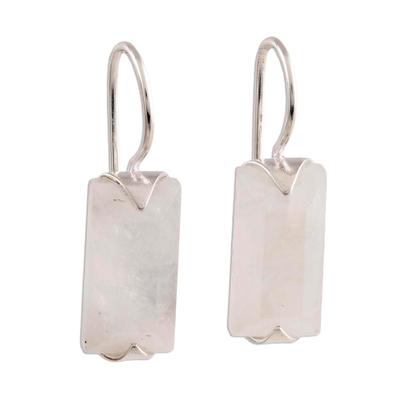 Rainbow moonstone drop earrings, 'Beautiful Mist' - 12-Carat Rainbow Moonstone Drop Earrings from India