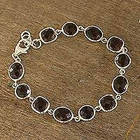 Smoky quartz link bracelet, 'Dazzling Princess' - 31.5-Carat Smoky Quartz Link Bracelet from India