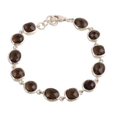31.5-Carat Smoky Quartz Link Bracelet from India